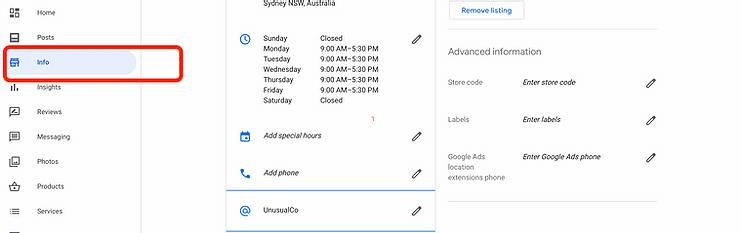 Google My Business Screenshot.
